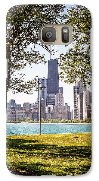 Chicago Skyline And Hancock Building Through Trees Galaxy S7 Case by Paul Velgos