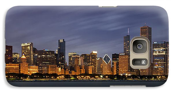 Chicago Skyline At Night Color Panoramic Galaxy Case by Adam Romanowicz
