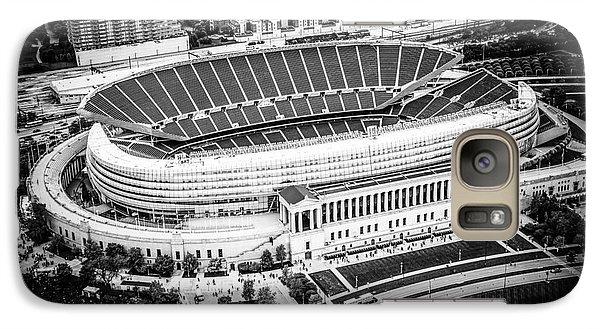 Chicago Soldier Field Aerial Picture In Black And White Galaxy Case by Paul Velgos
