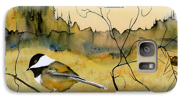 Chickadee In Dancing Pine Galaxy Case by Carolyn Doe