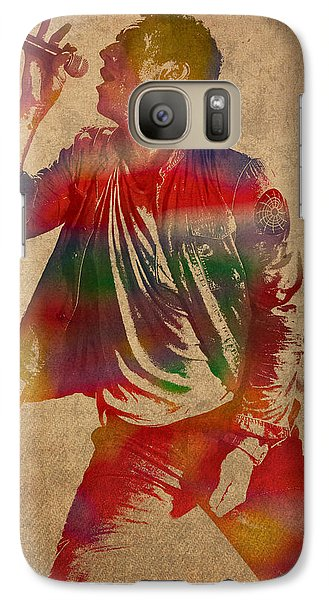 Chris Martin Coldplay Watercolor Portrait On Worn Distressed Canvas Galaxy Case by Design Turnpike