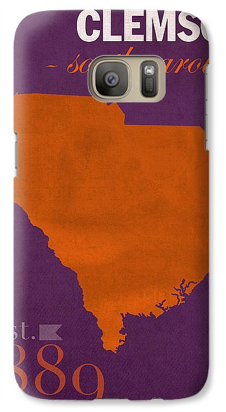 Clemson University Tigers College Town South Carolina State Map Poster Series No 030 Galaxy S7 Case by Design Turnpike