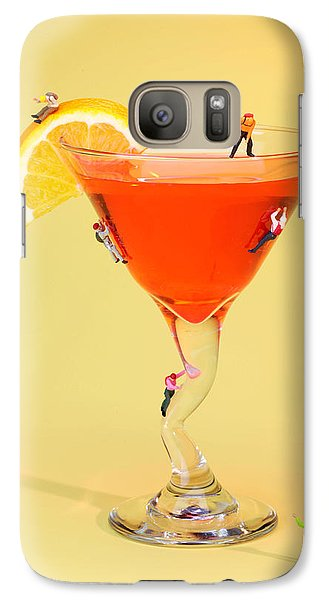Climbing On Red Wine Cup Galaxy Case by Paul Ge