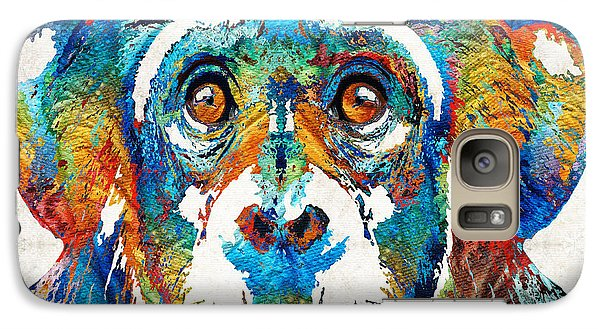 Colorful Chimp Art - Monkey Business - By Sharon Cummings Galaxy S7 Case by Sharon Cummings