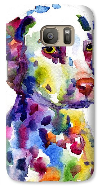Colorful Dalmatian Puppy Dog Portrait Art Galaxy S7 Case by Svetlana Novikova
