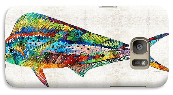 Colorful Dolphin Fish By Sharon Cummings Galaxy Case by Sharon Cummings