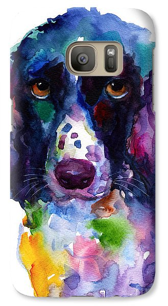 Colorful English Springer Setter Spaniel Dog Portrait Art Galaxy S7 Case by Svetlana Novikova