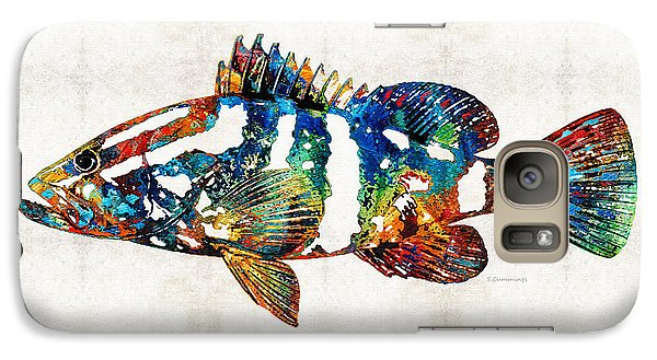 Colorful Grouper 2 Art Fish By Sharon Cummings Galaxy Case by Sharon Cummings