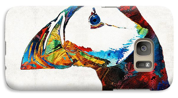 Colorful Puffin Art By Sharon Cummings Galaxy S7 Case by Sharon Cummings