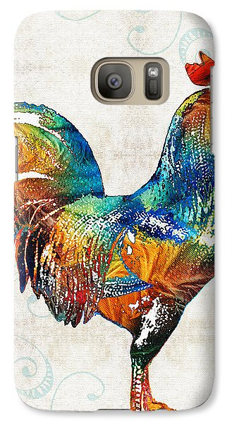Colorful Rooster Art By Sharon Cummings Galaxy Case by Sharon Cummings