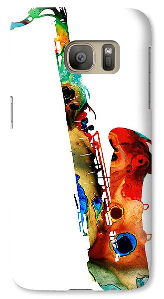 Colorful Saxophone By Sharon Cummings Galaxy S7 Case by Sharon Cummings