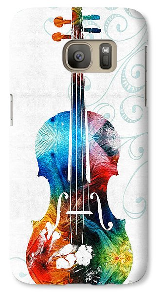 Colorful Violin Art By Sharon Cummings Galaxy Case by Sharon Cummings