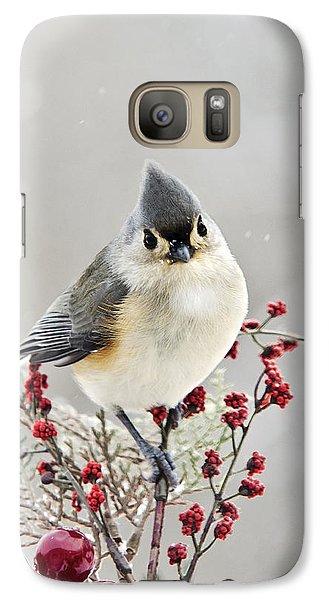 Cute Winter Bird - Tufted Titmouse Galaxy S7 Case by Christina Rollo