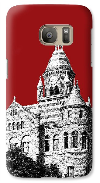 Dallas Skyline Old Red Courthouse - Dark Red Galaxy S7 Case by DB Artist