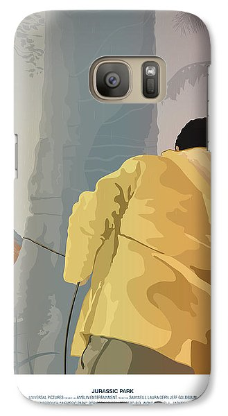 Dennis And The Dilophosaurus - Jurassic Park Poster Galaxy S7 Case by Peter Cassidy