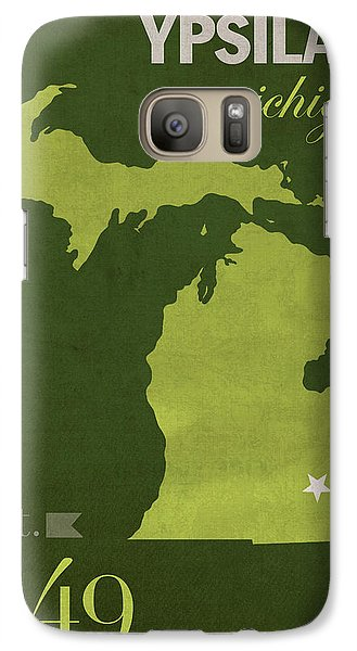 Eastern Michigan University Eagles Ypsilanti College Town State Map Poster Series No 035 Galaxy S7 Case by Design Turnpike