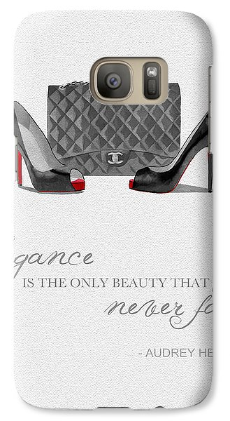 Elegance Never Fades Black And White Galaxy Case by Rebecca Jenkins