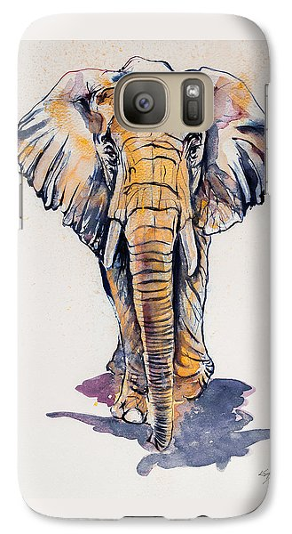 Elephant In Gold Galaxy Case by Kovacs Anna Brigitta