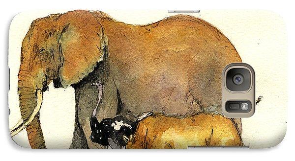 Elephant Ostrich And Rhino Galaxy Case by Juan  Bosco
