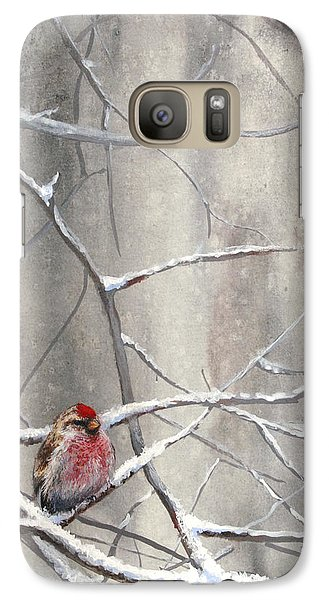 Eyeing The Feeder Alaskan Redpoll In Winter Galaxy S7 Case by Karen Whitworth