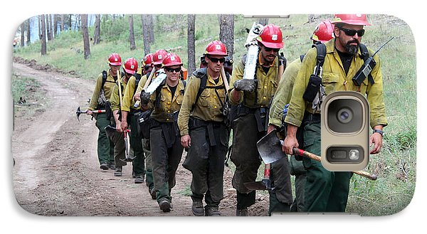 Galaxy Case featuring the photograph Fire Crew Walks To Their Assignment On Myrtle Fire by Bill Gabbert