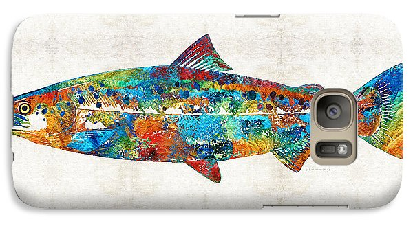 Fish Art Print - Colorful Salmon - By Sharon Cummings Galaxy Case by Sharon Cummings