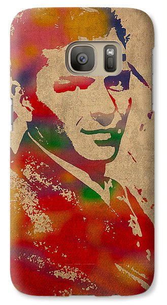 Frank Sinatra Watercolor Portrait On Worn Distressed Canvas Galaxy Case by Design Turnpike
