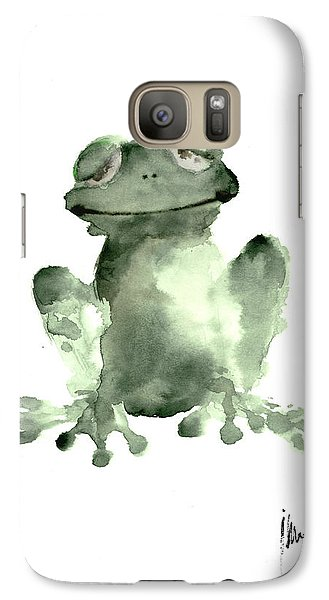 Frog Painting Watercolor Art Print Green Frog Large Poster Galaxy S7 Case by Joanna Szmerdt