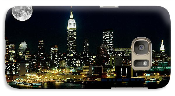 Full Moon Rising - New York City Galaxy S7 Case by Anthony Sacco
