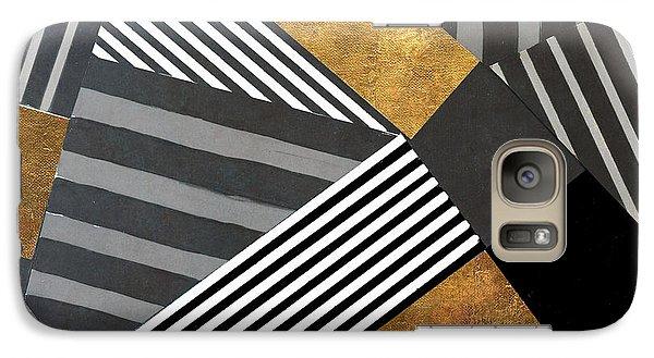 Geo Stripes In Gold And Black II Galaxy S7 Case by Lanie Loreth