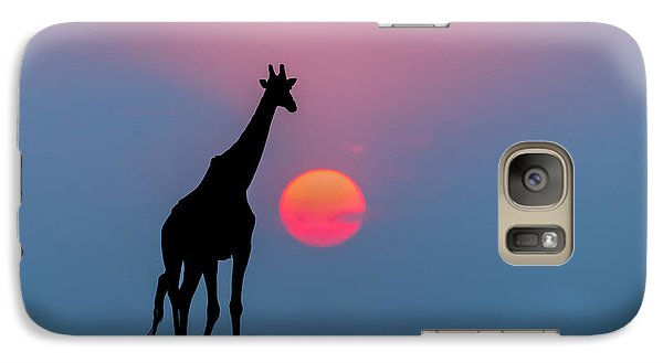 Giraffe At Sunset Chobe Np Botswana Galaxy Case by Andrew Schoeman