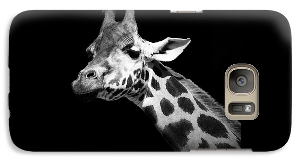 Portrait Of Giraffe In Black And White Galaxy Case by Lukas Holas