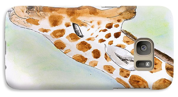 Giraffe With Tongue Out Galaxy Case by Pati Photography