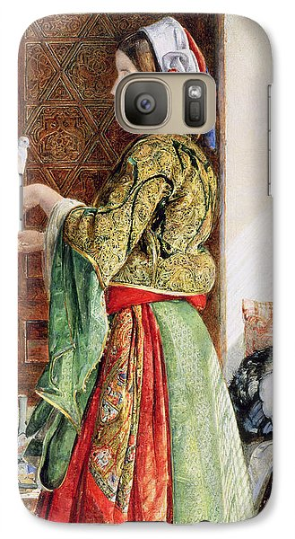 Girl With Two Caged Doves, Cairo, 1864 Galaxy Case by John Frederick Lewis