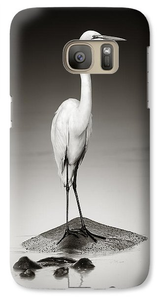 Great White Egret On Hippo Galaxy Case by Johan Swanepoel