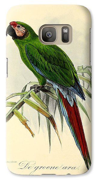 Green Parrot Galaxy S7 Case by J G Keulemans