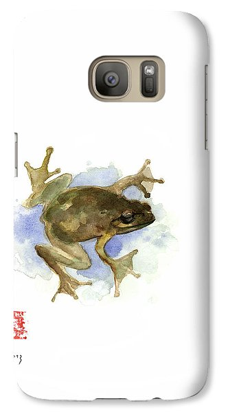 Green Yellow Blue Frog Lake River Animal World Water Colors Jewel Collection Galaxy S7 Case by Johana Szmerdt