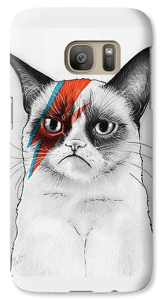 Grumpy Cat As David Bowie Galaxy Case by Olga Shvartsur