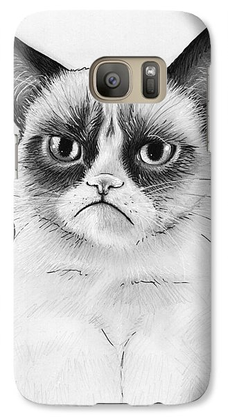 Grumpy Cat Portrait Galaxy S7 Case by Olga Shvartsur