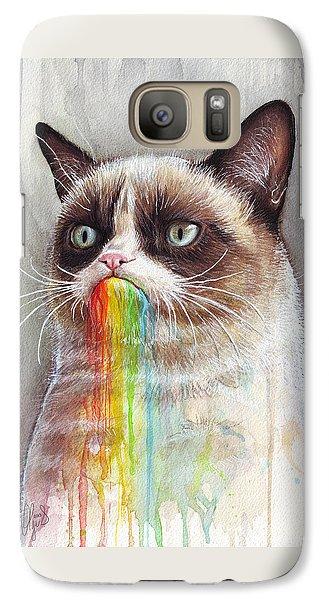 Grumpy Cat Tastes The Rainbow Galaxy Case by Olga Shvartsur