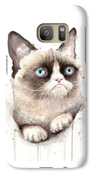 Grumpy Cat Watercolor Galaxy S7 Case by Olga Shvartsur