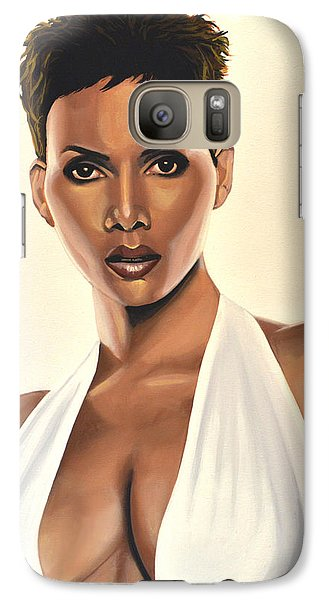 Halle Berry Painting Galaxy Case by Paul Meijering