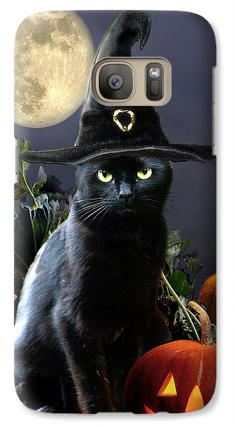 Witchy Black Halloween Cat Galaxy Case by Regina Femrite