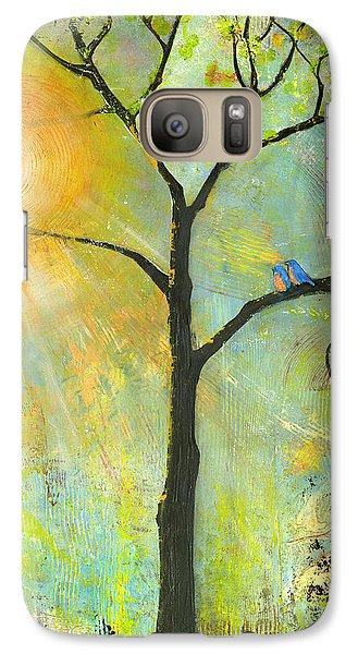 Hello Sunshine Tree Birds Sun Art Print Galaxy S7 Case by Blenda Studio