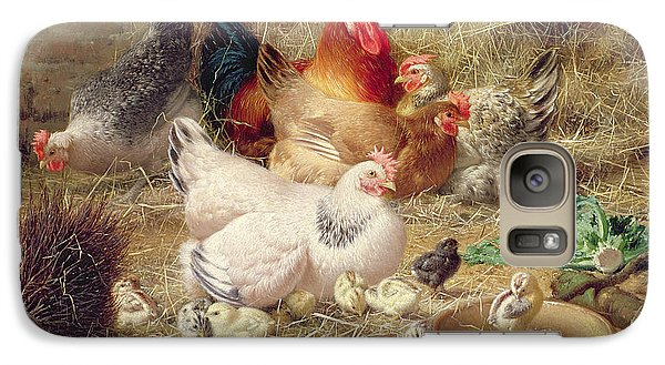 Hens Roosting With Their Chickens Galaxy Case by Eugene Remy Maes