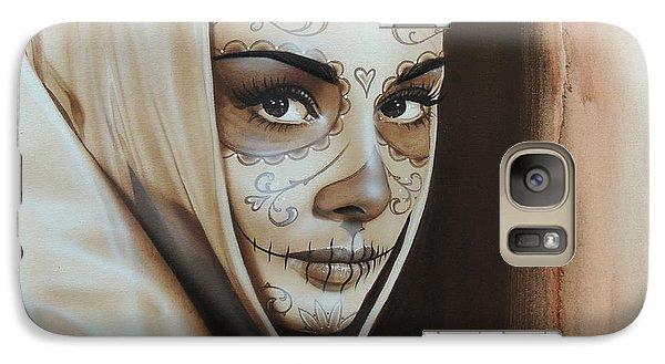 Audrey Hepburn - ' Hepburn De Los Muertos ' Galaxy Case by Christian Chapman Art