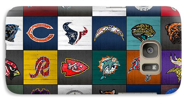Hit The Gridiron Football League Retro Team Logos Recycled Vintage License Plate Art Galaxy S7 Case by Design Turnpike