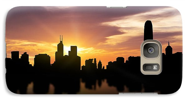 Hong Kong Sunset Skyline  Galaxy Case by Aged Pixel