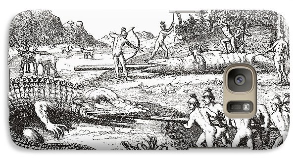 Hunting Alligators In The Southern States Of America Galaxy Case by Theodor de Bry