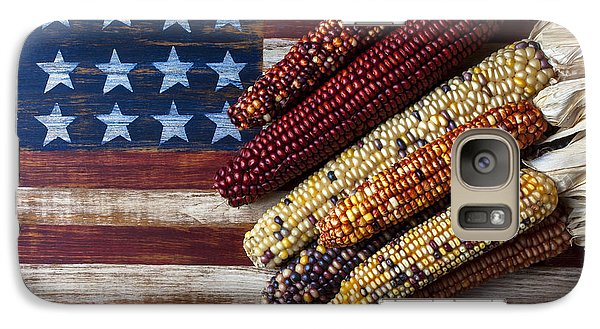 Indian Corn On American Flag Galaxy S7 Case by Garry Gay